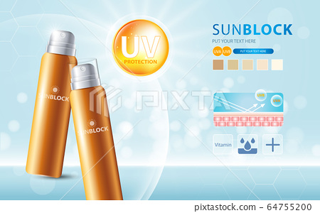 Sunblock ads template, sun protection cosmetic products design with moisturizer cream or liquid, sparkling background with glitter polka, vector design. 64755200