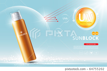 Sunblock ads template, sun protection cosmetic products design with moisturizer cream or liquid, sparkling background with glitter polka, vector design. 64755202
