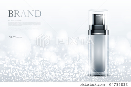 cosmetic product poster, bottle package design with moisturizer cream or liquid, sparkling background with glitter polka, vector design. 64755838