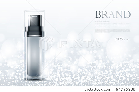 cosmetic product poster, bottle package design with moisturizer cream or liquid, sparkling background with glitter polka, vector design. 64755839