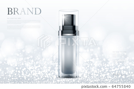 cosmetic product poster, bottle package design with moisturizer cream or liquid, sparkling background with glitter polka, vector design. 64755840