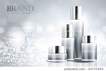 cosmetic product poster, bottle package design with moisturizer cream or liquid, sparkling background with glitter polka, vector design. 64755844