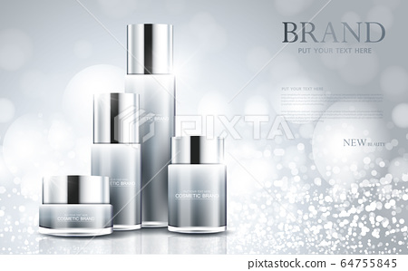 cosmetic product poster, bottle package design with moisturizer cream or liquid, sparkling background with glitter polka, vector design. 64755845