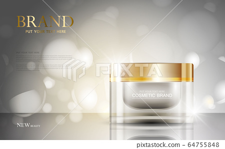 cosmetic product poster, bottle package design with moisturizer cream or liquid, sparkling background with glitter polka, vector design. 64755848