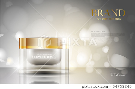cosmetic product poster, bottle package design with moisturizer cream or liquid, sparkling background with glitter polka, vector design. 64755849