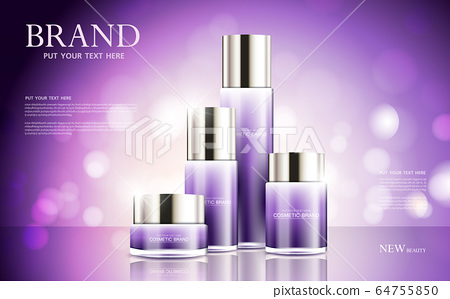 cosmetic product poster, bottle package design with moisturizer cream or liquid, sparkling background with glitter polka, vector design. 64755850