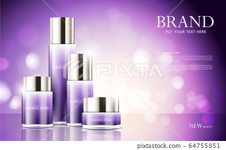 cosmetic product poster, bottle package design with moisturizer cream or liquid, sparkling background with glitter polka, vector design. 64755851