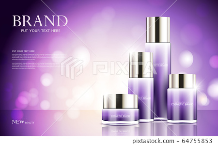 cosmetic product poster, bottle package design with moisturizer cream or liquid, sparkling background with glitter polka, vector design. 64755853