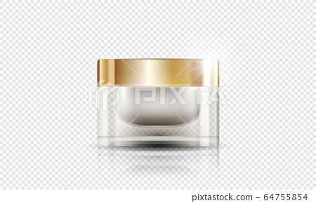 cosmetic product poster, bottle package design with moisturizer cream or liquid, sparkling background with glitter polka, vector design. 64755854