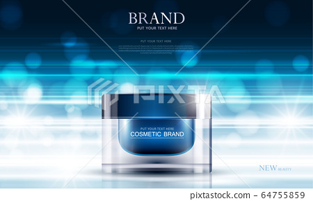 cosmetic product poster, bottle package design with moisturizer cream or liquid, sparkling background with glitter polka, vector design. 64755859