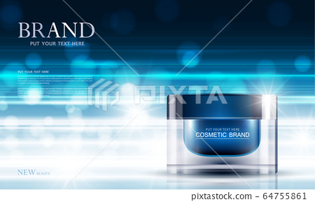 cosmetic product poster, bottle package design with moisturizer cream or liquid, sparkling background with glitter polka, vector design. 64755861