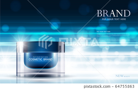 cosmetic product poster, bottle package design with moisturizer cream or liquid, sparkling background with glitter polka, vector design. 64755863