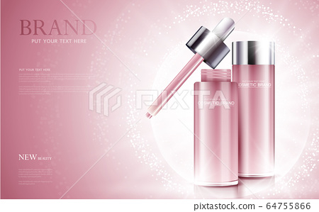 cosmetic product poster, bottle package design with moisturizer cream or liquid, sparkling background with glitter polka, vector design. 64755866