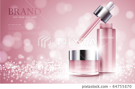 cosmetic product poster, bottle package design with moisturizer cream or liquid, sparkling background with glitter polka, vector design. 64755870
