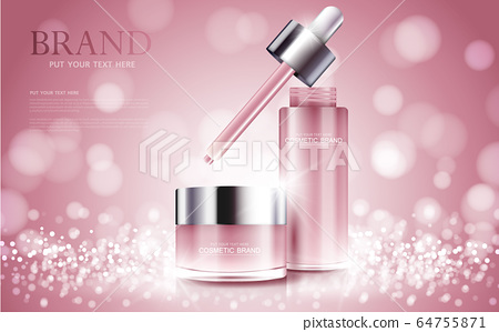 cosmetic product poster, bottle package design with moisturizer cream or liquid, sparkling background with glitter polka, vector design. 64755871