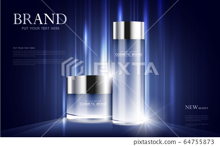 cosmetic product poster, bottle package design with moisturizer cream or liquid, sparkling background with glitter polka, vector design. 64755873