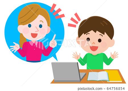 在线英语对话男孩学习女老师插图 64756854