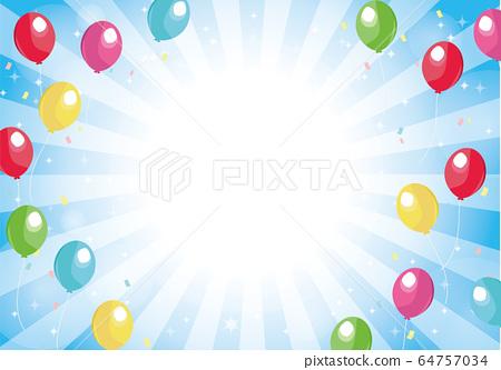 藍色的徑向背景氣球和閃光背景 64757034