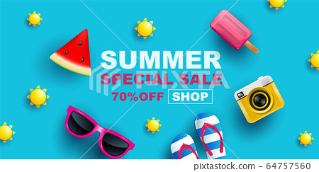 Summer Sale, Banner Layout Design, vector 64757560