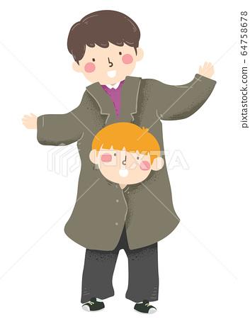 Kids Boy Pretend Tall Adult Clothes Illustration 64758678