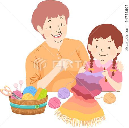 Senior Girl Kid Grandma Teach Crochet Illustration 64758695