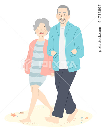 Senior Couple Barefoot Beach Walking Illustration 64758697