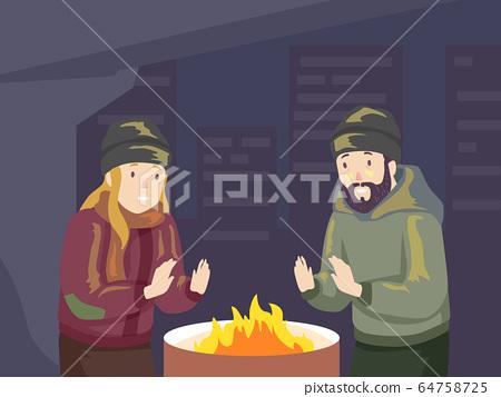 Men Homeless Fire Winter Illustration 64758725