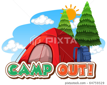 Font design for camp out with tent in the park 64759329