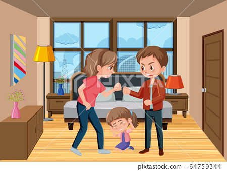 Scene with parents bullying their family at home 64759344