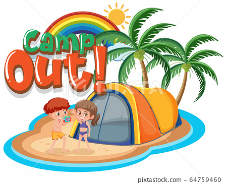Font design for camp out with tent in the park 64759460