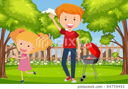 Background scene with dad and daughter in the park 64759491