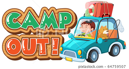 Font design for camp out with tent in the park 64759507