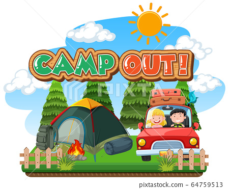 Font design for camp out with tent in the park 64759513