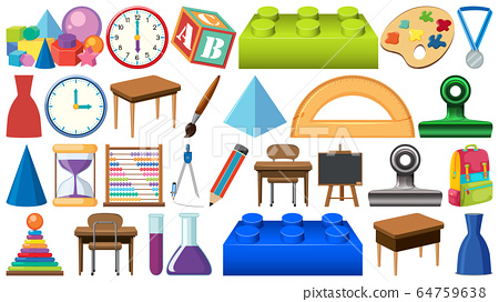 Set of different stationeries on white background 64759638