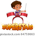 Font design for word superstar with boy playing 64759663