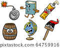 funny objects cartoon clip arts illustration set 64759916