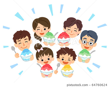 Family Danran Summer Eating shaved ice 64760624