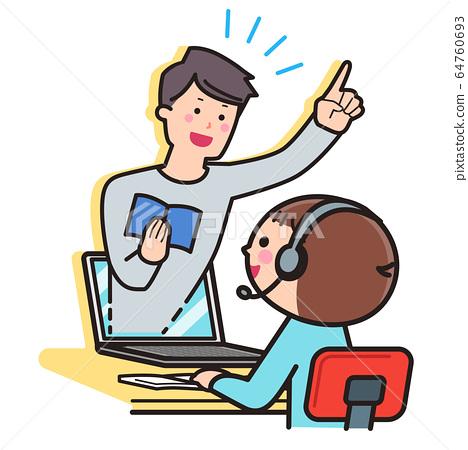 온라인 수업 소년 · PC · PC 64760693