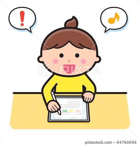 學習使用平板電腦終端的女孩 64760698
