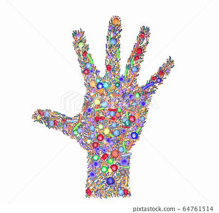 Various bacteria and pathogens on a human hand 64761514