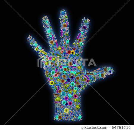 Various bacteria and pathogens on a human hand 64761516