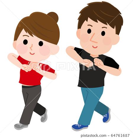 댄스 댄서 남성 여성 일러스트 64761687