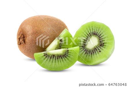 kiwi fruit and slice slice isolated on white background . full depth of field 64763048