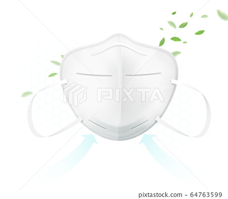 N95 protective mask protects against viruses. 64763599
