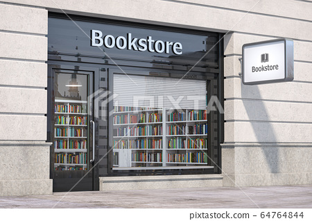 Bookstore shop exterior with books and textbooks 64764844
