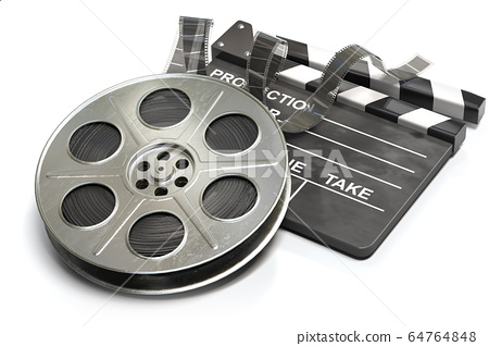 Film reel with clapper board. Video, movie and 64764848