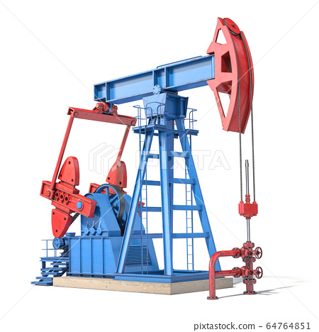 Oil pump jack isolated on white background. 64764851