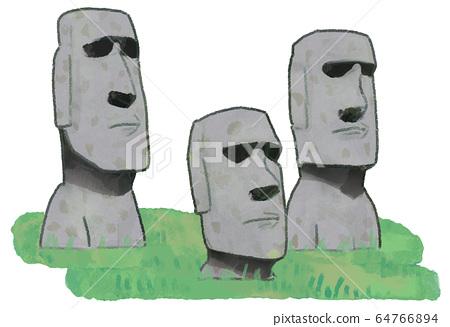 Moai Statue Illustration B 64766894