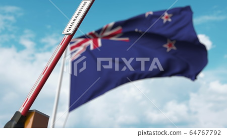 Opening boom barrier with QUARANTINE sign against the New zealand flag. Unrestricted entry in New zealand. 3D rendering 64767792