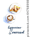 Cup of coffee cappuccino and croissant 64768998